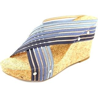 Lucky Brand Miller 2 Open Toe Canvas Wedge Sandal