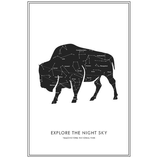 Yellowstone National Park, Wyoming - Explore the Night Sky - Buffalo Star  Map - Lantern Press Artwork (Art Print - Multiple Size