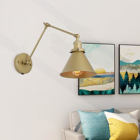"Carbon Loft Merida Adjustable Gold Swing Arm Lighting Plug-in Wall Lamp - 19.7"" X 7.5"" X 9.1"""