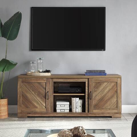 """BELLEZE 58"""" Barn Door TV Stand Console For TVs Up To 65"""", Rustic Oak - standard"""