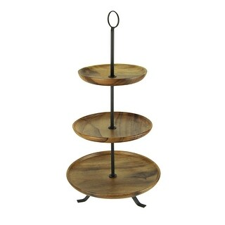 Rustic Round Wood Standing 3 Tiered Serving Tray