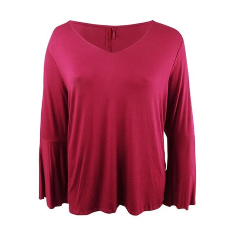 Love Scarlett Women's Plus Size Ruffled Bell-Sleeve Top (3X, Juneberry) - Juneberry - 3X