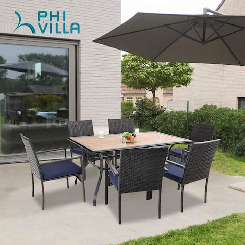 PHI VILLA Seats up to 7 Patio Dining Set, Wood Top Patio Table with Umbrella Hole & Poly Wicker Chairs