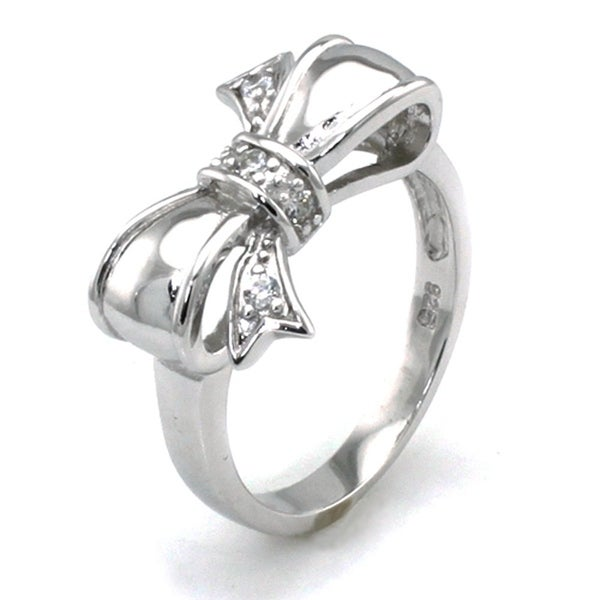 Sterling Silver Cubic Zirconia Infinity Bow Ring