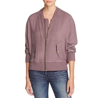 Three Dots Womens Bomber Jacket Ribbed Trim Long Sleeves