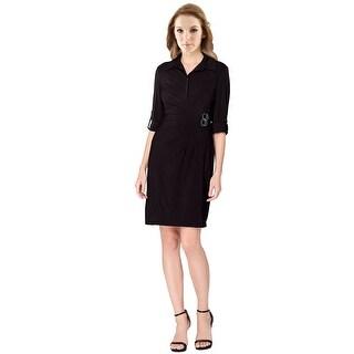 Tahari ASL Jersey Short Sleeve Shirt Dress - 16