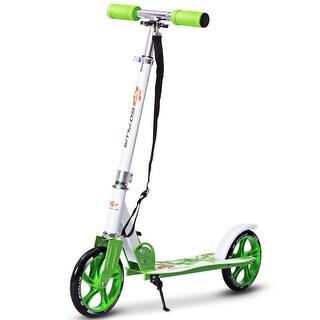 Goplus Foldable Aluminum 2 Wheels Kids Kick Scooter Height Adjustable Christmas Gift - Green