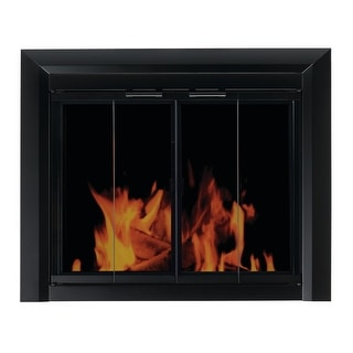 Pleasant Hearth CM-3010  Small Fireplace Screen with Bi-Fold Track-Free Smoked Glass Doors - Black