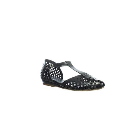 Summit Womens Ramona Black Leather T-Strap Sandals EUR 36