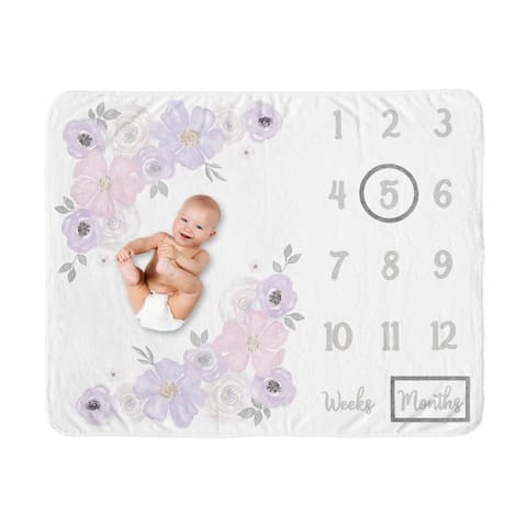 Watercolor Floral Collection Girl Baby Monthly Milestone Blanket - Lavender Purple, Pink and Grey Boho Shabby Chic Rose Flower