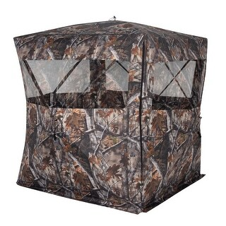 Goplus Portable 2 Person Pop Up Ground Hunting Blind Stool Set Camo Mesh Waterproof