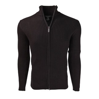 Marquis Men's Full Zip Ribbed Mock Turtleneck 100% Cotton Cardigan