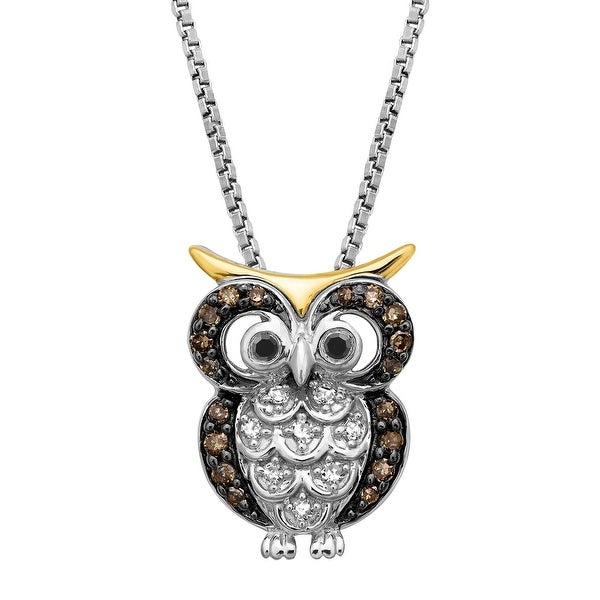 1/6 ct Black, White & Champagne Diamond Owl Pendant in Sterling Silver & 14K Gold