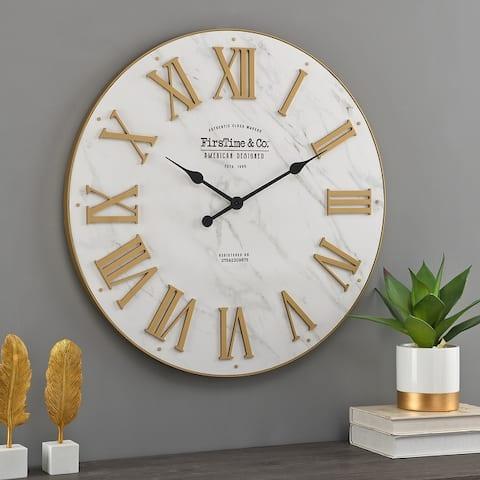 FirsTime & Co.® Emmett Farmhouse Shiplap Wall Clock, Plastic, 27 x 2 x 27 in, American Designed - 27 x 2 x 27 in