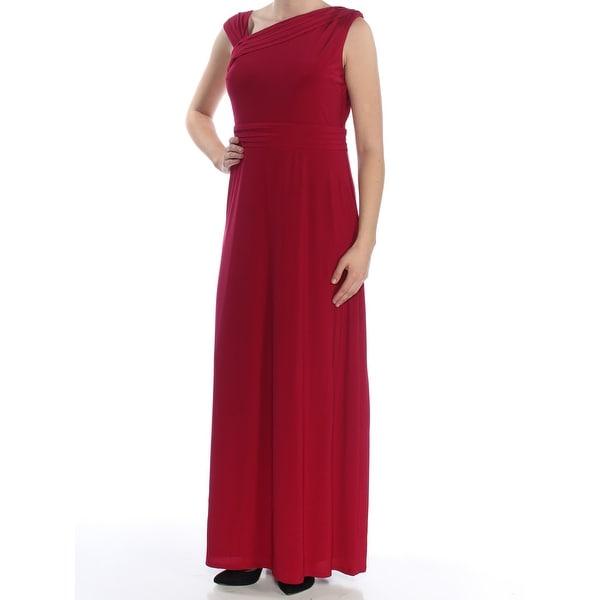 91f6184083 ELLEN TRACY Womens Burgundy Pleated Sleeveless Full-Length Empire Waist  Formal Dress Size: 8