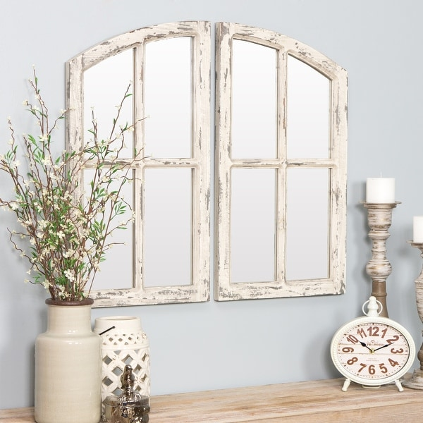 """Jolene Arched Window Pane Mirrors (Set of 2) - White - 27""""h x 15""""w x 1""""d. Opens flyout."""