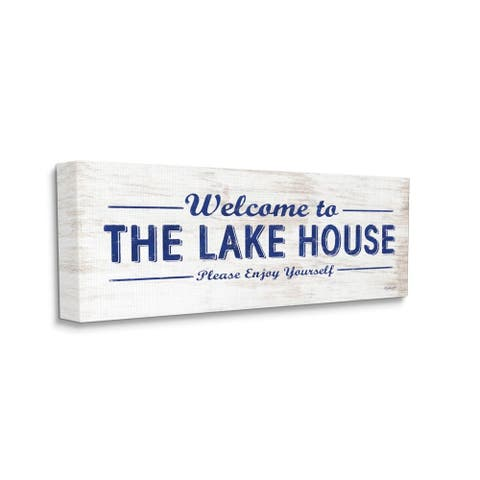 Stupell Industries Lakehouse Welcome Sign Enjoy Yourself Phrase Distressed Design Canvas Wall Art - Multi-Color