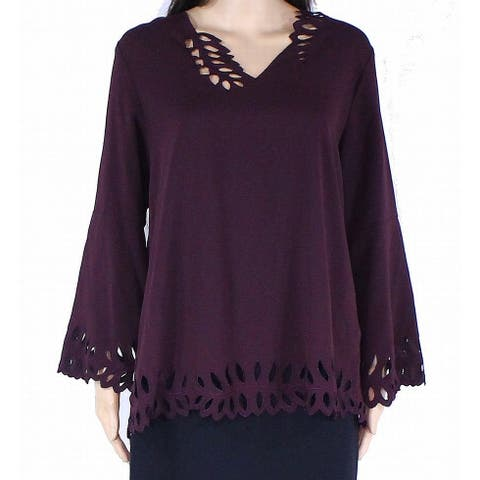 Alfani Womens Blouse Purple Size Medium M V-Neck Cutout Poet-Sleeve