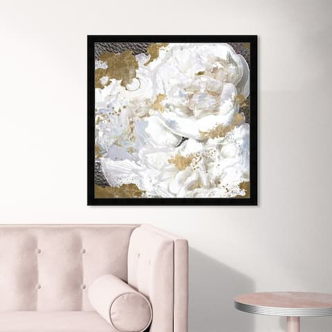 Oliver Gal 'White Peony and Gold' Floral and Botanical Wall Art Framed Print Florals - White, Gold