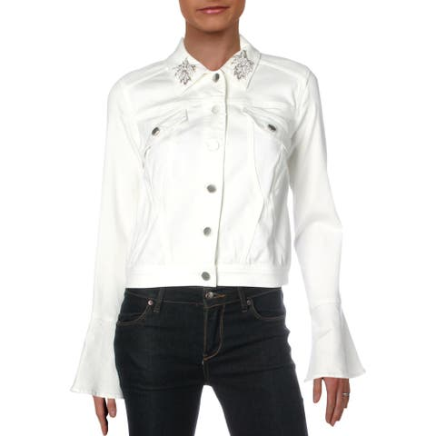 Elie Tahari Womens Meggy Denim Jacket Embellished Short - Parchment - S