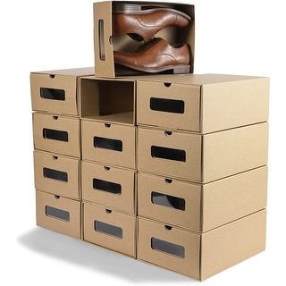 "12-Pack Shoe Box, Kraft Cardboard Shoe Storage Drawers with Viewing Window - 13.3"" x 9"" x 5.25"""