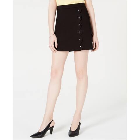 maison Jules Womens Scalloped Detail Mini Skirt, black, XX-Large