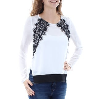 Link to BAR III Womens Ivory Lace Long Sleeve Jewel Neck Top  Size XS Similar Items in Tops