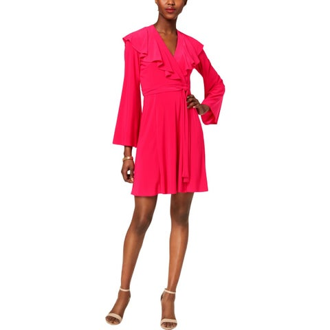 Taylor Womens Wrap Dress Ruffled V-Neck