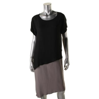 Pure DKNY Womens Colorblock Short Sleeves Wear to Work Dress