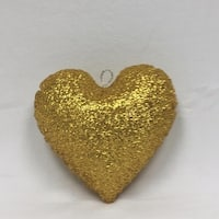 "12"" Sparkly Gold Inflatable Tinsel Heart Christmas Ornament"