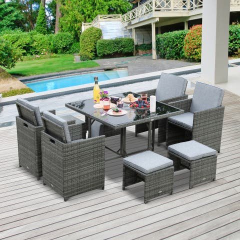 Outsunny 9 Piece Outdoor Rattan Wicker Dining Table and Chairs Furniture Set Space Saving Wicker Chairs w/ Cushions
