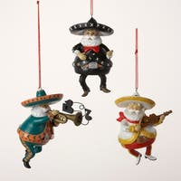 "Club Pack of 12 Mexican Mariachi Band Santa Claus Christmas Ornaments 4.5"" - WHITE"