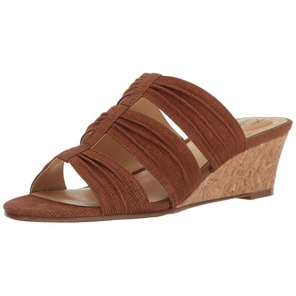 Trotters Womens MIA Leather Open Toe Casual Slide Sandals, Cognac, Size 7.5