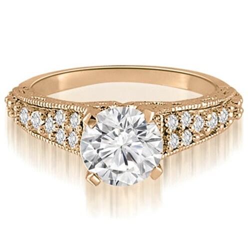 1.35 cttw. 14K Rose Gold Antique Milgrain Round Cut Diamond Engagement Ring