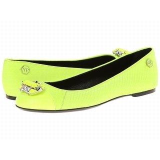 Philipp Plein NEW Yellow Shoes Size 9.5M Ballet Flats Leather