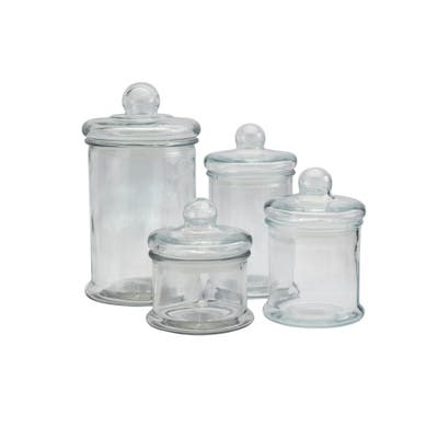 Mason Craft & More Apothecary Skinny Clear Glass Jars w/ Glass Lids - Set of 4 - N/A