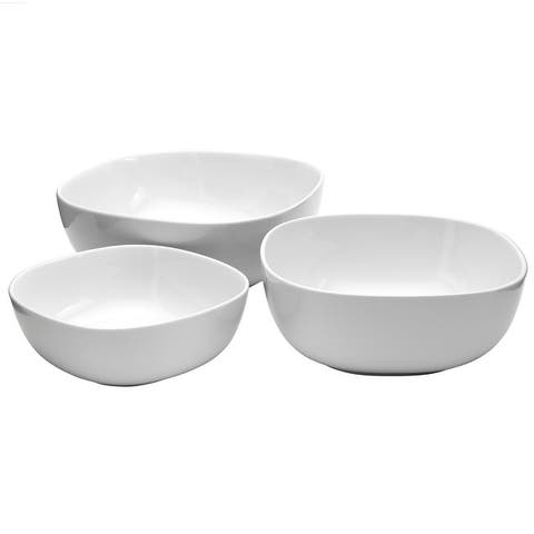 Denmark 3PC White Porcelain Soft Square Serving Bowl