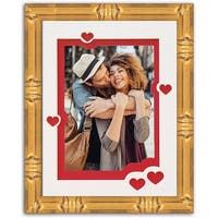 Heart & Love Picture Frame - Gold Wood Frame With Heart Shaped Double Mat for 4x6 photo - gold #2