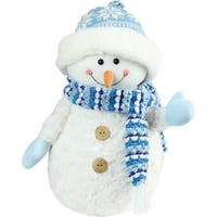 "12.5"" Arctic Blue and White Snowman Wearing Knit Hat Christmas Decoration"