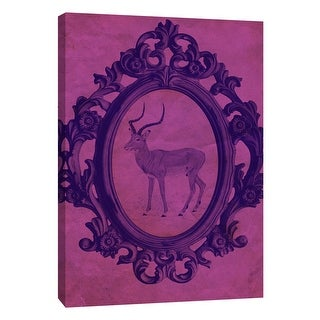 """PTM Images 9-105884  PTM Canvas Collection 10"""" x 8"""" - """"Framed Gazelle in Violet"""" Giclee Animals Art Print on Canvas"""
