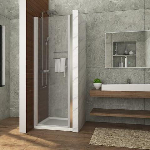 ELEGANT Pivot Swing Shower Door Polished Chrome Finish