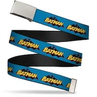 "Blank Chrome 1.0"" Buckle Vintage Batman Logo Blue Webbing Web Belt 1.0"" Wide - S"