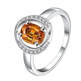 Yellow Citrine Circular Jewels Lining Ring
