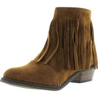 Breckelle's Womens Almond Toe Fringe Tassel Chunky Heel Cowboy Mid Calf Ankle Bootie