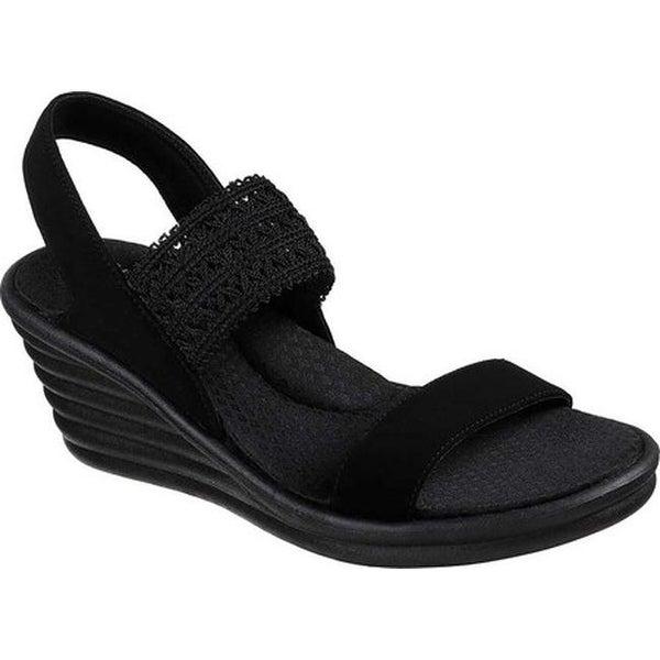 9463a219c52f Skechers Women  x27 s Rumblers Wave Drama Diva Wedge Sandal Black Black