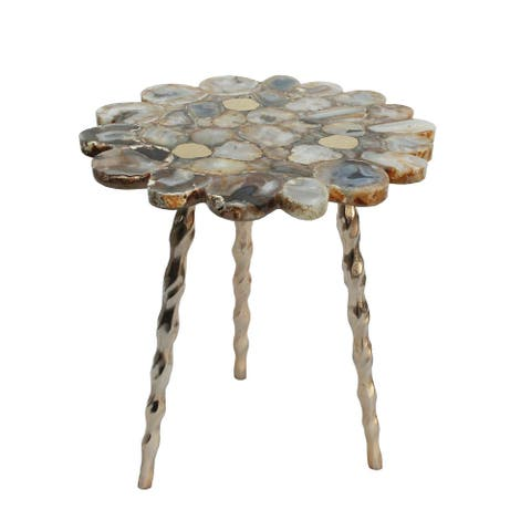 Gold Agate and Brass Inlay with Twisted Legs Side Table
