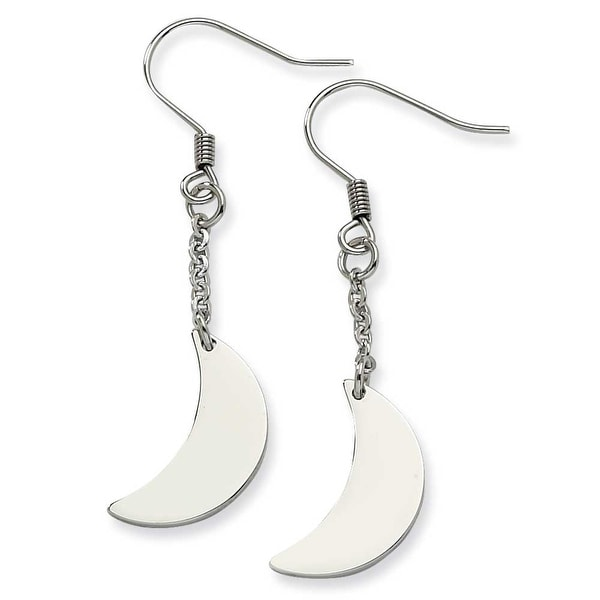 Chisel Stainless Steel Polished Crescent Moon Dangle Earrings