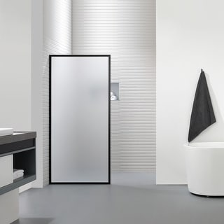 """Link to FELYL 34"""" W x 72"""" H Framed Fixed Frosted Glass Panel with Heat Soaking Process and Protective Coating Clear Glass Similar Items in Bathtubs"""