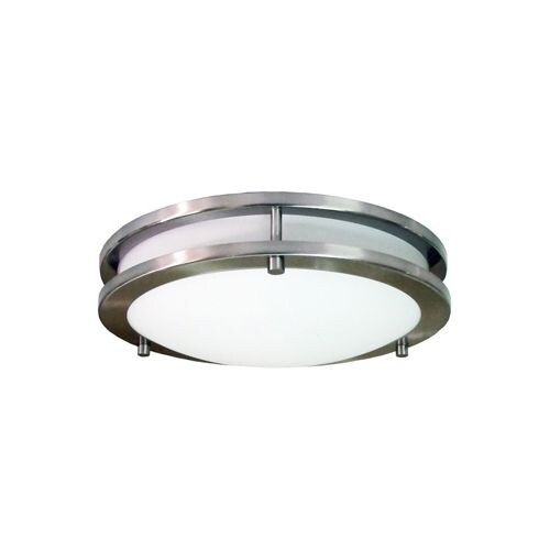 HomeSelects International 6102 Saturn 2 Light Flush Mount Indoor Ceiling Fixture - Brushed nickel