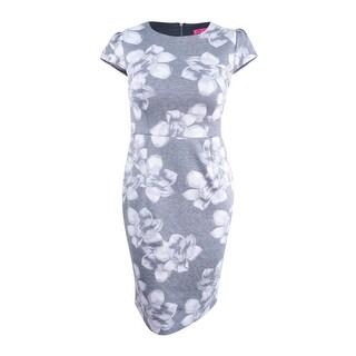 Betsey Johnson Women's Floral-Print Knit Midi Sheath Dress (10, Heather Grey) - Heather Grey - 10
